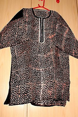 New Unique West African embroidered Danshiki top tye dye mens ~ Brown mix