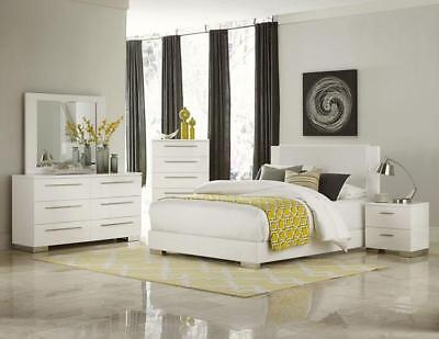 METRO ULTRA Modern 5pcs Glossy White Queen King Platform Bedroom Set Furniture