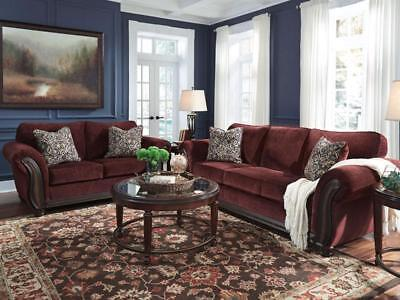 WATFORD - Traditional Wood Trim Burgundy Fabric Sofa Couch Set Living Room New