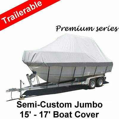 Premium 15-17ft 4.6-5.2m Heavy Duty 600D Canvas Trailerable Jumbo Boat Cover Gre