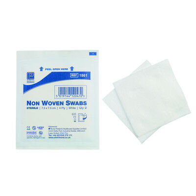 Pk of 125-First Aid Non Woven SWABS Gauze - 7.5cm x 7.5cm Sterile Medical (4ply)
