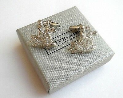 """TRADITIONAL BALLROOM DANCERS"" SHINY SILVER Style CUFF LINKS in a GIFT BOX-NEW"