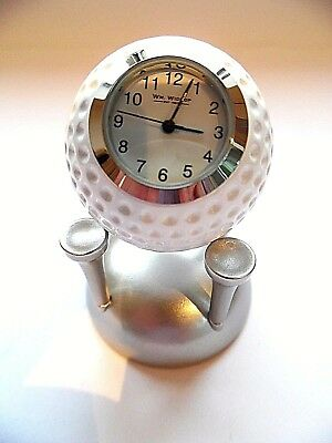 Golfers Gift-NOVELTY MINIATURE GOLF BALL CLOCK-golf ball with 4 tees stand-Boxed