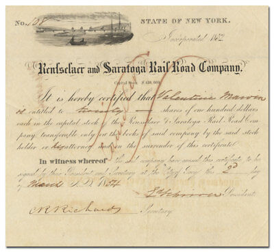 Rensselaer and Saratoga Rail Road Company Stock Certificate (dated 1854)