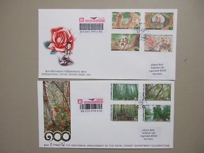 Two Thailand registered fdc w/sets of four stamps