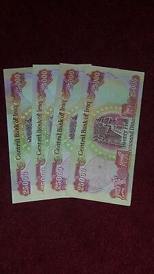 100,000 IRAQI DINAR! (4) 25,000 NOTES! CIRCULATED AUTHENTIC IQD For $100