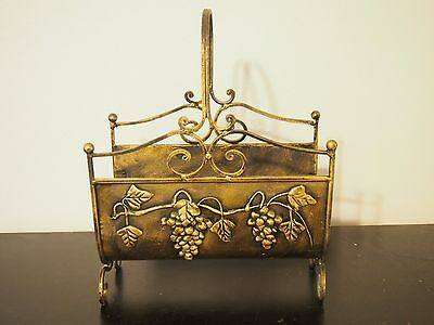 Ornate Vintage Wrought Iron Magazine Stand