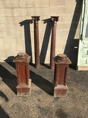 Phil Match Pair Antique All Oak Carved Collanade Columns 92 Inch High
