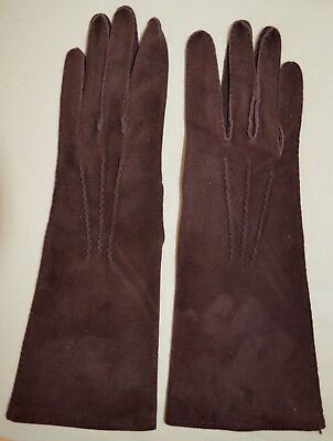 Vintage Pair Brown Suede Gloves Silk Lining Made In Italy Donna Karan Hand Stitc