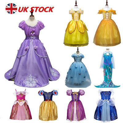 Princess Belle Cinderella Dress Up Kids Girls Fancy Party Costume Cosplay
