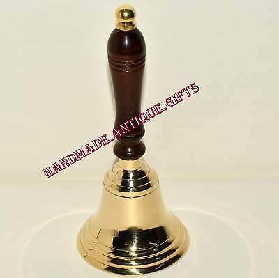 Vintage Style Brass Wood Teachers Hand Desk School Bell Primitive Decor