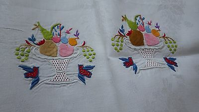 2 Unusual White Linen Damask NAPKINS w Color Embroidery Birds, Veggies & Fruit