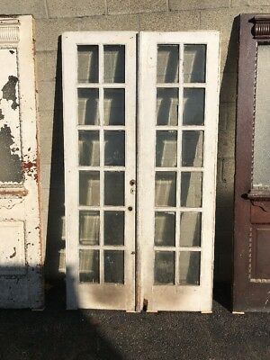 Phil 4 Matched Pair Antique Beveled Glass French Doors 42 X 77.25