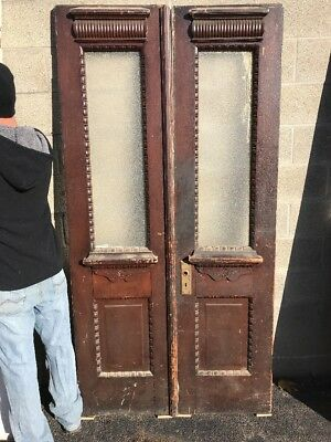 Phil 6 match Pair antique carved entrance doors 41.75 x 80.75 x 1.5