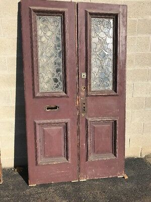 Phil 7 match a pair of antique oak double door entry set with stained glass…