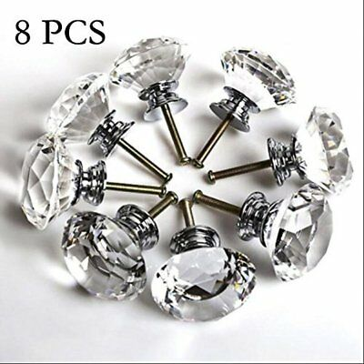 8pcs Clear Round Antique Vintage Crystal Glass Knobs For Furniture Drawer Door