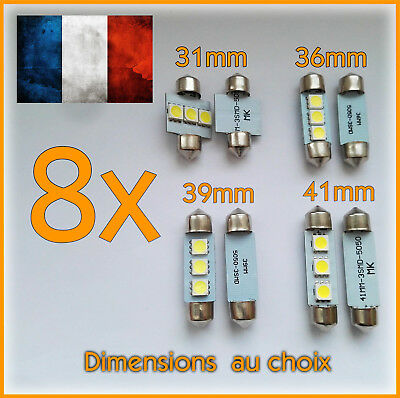 8x Ampoules navettes C5W 3 LED 31 mm 36 mm 39 mm 41 mm plaque plafonnier tuning
