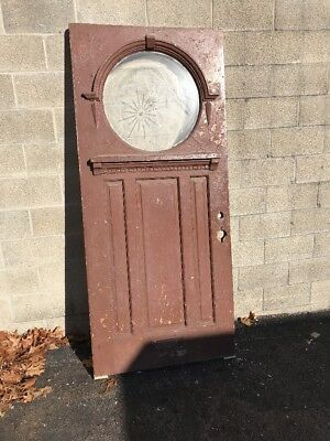 Phil 10 Antique Entrance Door Porthole Beveled Glass 36 Inch Round Wheel Cut