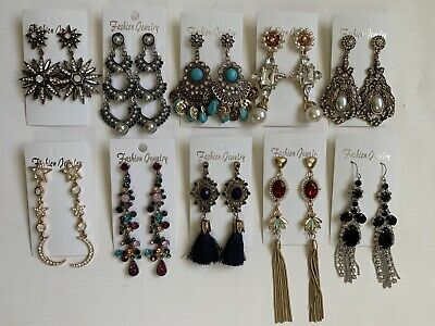 Wholesale Lot of 10 Pairs of Statement Earrings Rhinestone  New #03