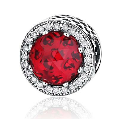 VOROCO S925 Sterling Silver Charms Crystal With Red CZ Beads For Women Bracelet