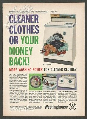 WESTINGHOUSE 1961 LAUNDROMAT washer - 1960 Vintage Reader's Digest Print Ad