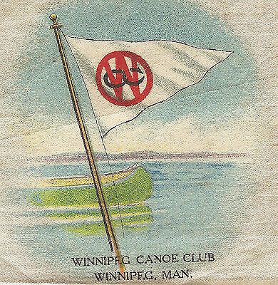 Vintage antique tobacco cigarette silk - use in crazy quilt -WINNIPEG CANOE CLUB