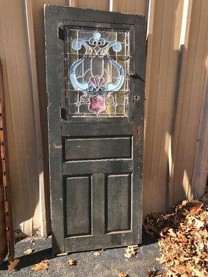 Phil 16 Antique Oak And Three Pantry Passage Door Stain Glass 29.5 X 73