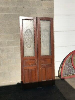 Phil 17 Matched Set Double Entry Door With Etched Floor Panels 44.25 89.5
