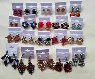 Wholesale Lot of 20 Pairs of Earrings Rhinestone Stud Dangle New #03