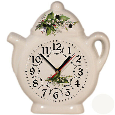 Wall Clock for the Kitchen - Ceramic - Country House Style with Lily of Valley