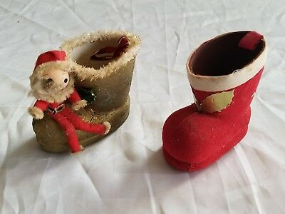 Vtg Christmas Cardboard Candy Boots Pixie Elf Santa Gold And Red Ornaments