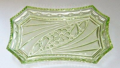 Art Deco Green Uranium Glass Dressing Table Tray