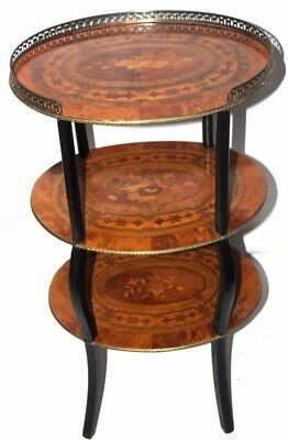 Antique French Marquetry Inlaid 3 Tier Table 19th C - FREE Shipping [PL4084]