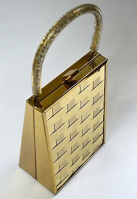 Vintage 1940s Gold Metal Box Purse With Gold Weave Pattern and Glittery Handle