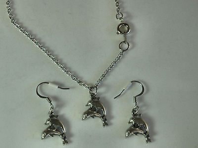 Silver Pewter Double DOLPHIN Necklace & Earrings  NEW  Never Worn Very Nice!!!!