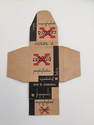 VINTAGE X CELLO'S CONDOMS cardboard Package