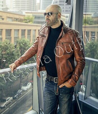 Brown Quilted Distressed Motorcycle Cafe Racer Handmade Real Leather Jacket Mens