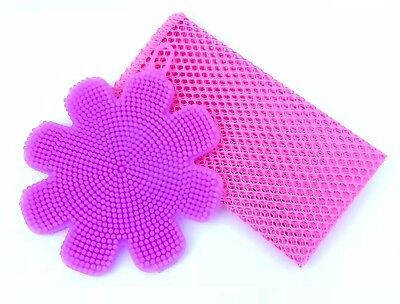 Silicone Dishwashing Kitchen Sponge Scrubber+Non-Scratch Scourer Net-2 Pieces-UK