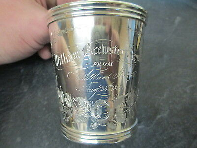Antique 1858 N Harding & Co Boston Coin Silver Cup Beautiful Condition Rare