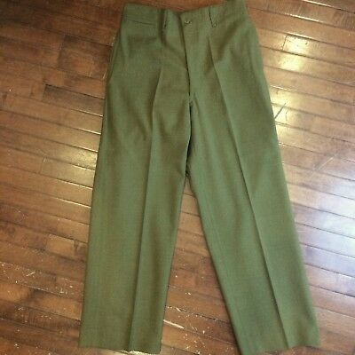 US Army WWII Vintage 40s Mens 33x31 OD Wool Button Fly Fatigue Trousers Pants