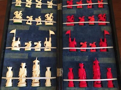 Hand Carved Chinese Chess Set Lacquered Board 1920-S