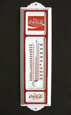 "RARE Vintage 13"" Coca-Cola Tin Thermometer Coke red white weather temp man cave"
