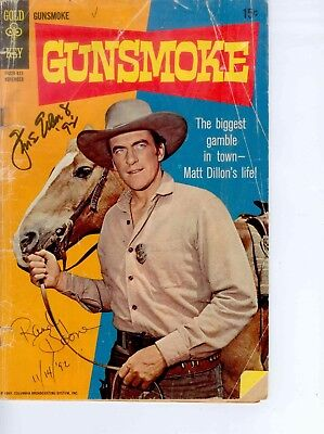 Autographed GUNSMOKE Comic Book Signed and Dated Twice Gold Key Silver Age