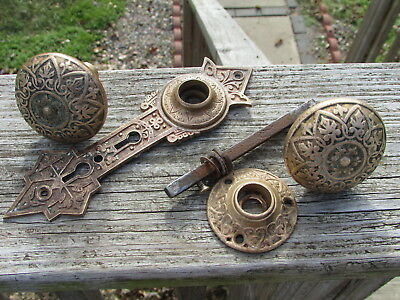 BEAUTIFUL Victorian ART DECO NOUVEAU Brass DOOR KNOB & BACKPLATE Set EASTLAKE ??