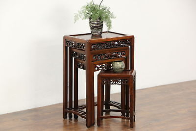 Set of 4 Hand Carved Rosewood Chinese Vintage Nesting Tables