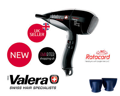 Valera Professional Swiss 9200 Ionic 2000 W Tourmaline Rotocord Hairdryer BLACK