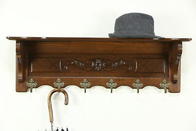 Dutch Carved Oak Vintage Wall Shelf, Face Coat, Hat or Key Hooks