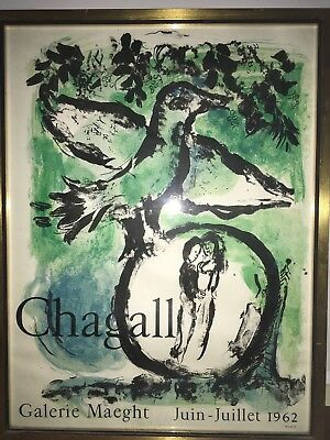 Marc Chagall Signed Poster From Galerie Maeght Exhibition