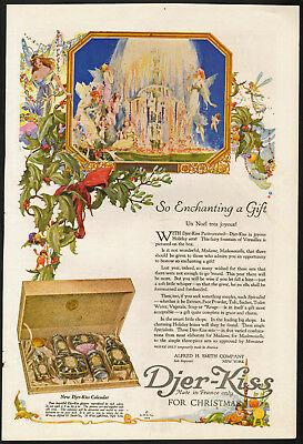 Fairies, Holly, Mistletoe, Fountain - 1919 Djer Kiss Christmas Ad - Fantasy Art