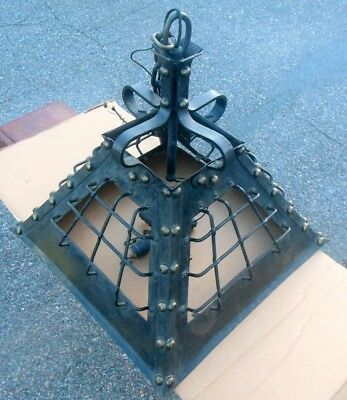 Antique SHIPS Light Fixture Iron Brass Studs MARITIME Sea Industrial Loft